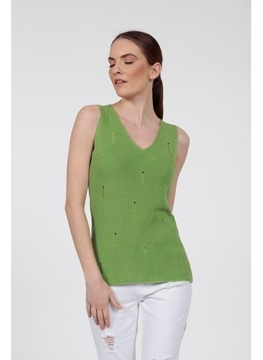 Vitrin V Yaka Yırtık Detaylı Triko Bluz Yeşil